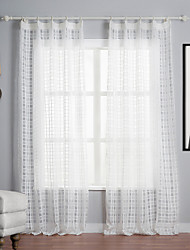 cheap -Two Panels Curtain Mediterranean , Plaid/Check Polyester Material Sheer Curtains Shades Home Decoration For Window