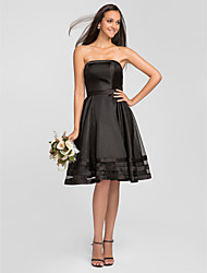 A-Line Strapless Knee Length Organza Bridesmaid Dress with Pleats Ruffles by LAN TING BRIDE®