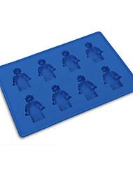 8 furos minifigure robô gelo molde cubo bandeja silicone doce gelatina chocolate diy molde aleatório cor