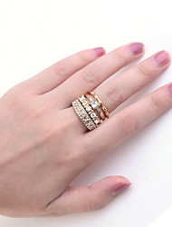 cheap -Women's Ring Rhinestone Gold Silver Alloy Stylish Wedding Party / Evening Costume Jewelry