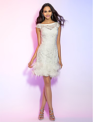 cheap -Sheath / Column Illusion Neckline Short / Mini Lace All Over Lace Graduation / Cocktail Party / Homecoming / Holiday Dress with Feathers