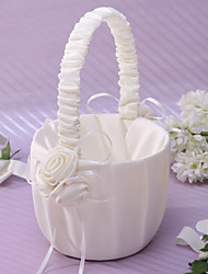 cheap -Elegant Flower Basket In Ivory Satin With Flower Flower Girl Basket