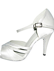 cheap -Women's Latin Ballroom Satin Sandal Customized Heel White Customizable