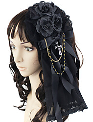 cheap -Lolita Jewelry Gothic Lolita Dress Headwear Princess Men's Women's Black Lolita Accessories Bowknot Headpiece Lace Satin Artificial