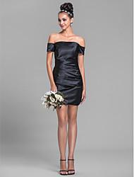 economico -guaina / colonna off-the-spalla corto / mini abito da damigella d'onore raso stretch con drappeggio laterale da lan ting bride®
