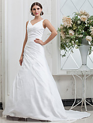 cheap -A-Line V Neck Chapel Train Taffeta Custom Wedding Dresses with Side-Draped by LAN TING BRIDE®