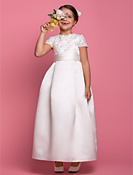 cheap -A-Line Ankle Length Flower Girl Dress - Satin Short Sleeves Jewel Neck with Beading Draping Lace Sash / Ribbon by LAN TING BRIDE®