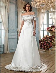 A-Line Off-the-shoulder Sweep / Brush Train Satin Wedding Dress with Beading Appliques Button by LAN TING BRIDE®