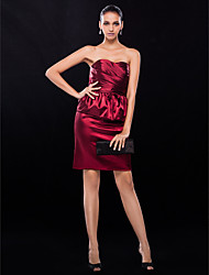 Sheath / Column Strapless Short / Mini Stretch Satin Cocktail Party Wedding Party Dress with Bow(s) Criss Cross by TS Couture®