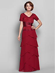 cheap -Sheath / Column V-neck Floor Length Chiffon Lace Mother of the Bride Dress with Lace by LAN TING BRIDE®