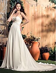 abordables -Trapèze Coeur Traîne Tribunal Mousseline de soie Robes de mariée sur mesure avec Billes / Appliques / Ruché par LAN TING BRIDE®