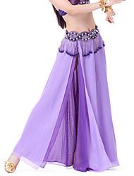 abordables -Danse du ventre Jupe Femme Mousseline de soie Avant Fendu Taille moyenne Jupe / Salle de bal