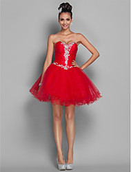 cheap -A-Line Princess Sweetheart Short / Mini Organza Tulle Cocktail Party / Homecoming / Prom / Holiday Dress with Beading Appliques Ruched