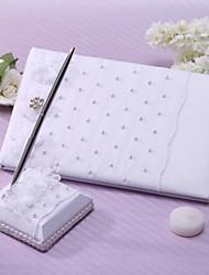 Guest Book Pen Set Satin Garden ThemeWithSash Faux Pearl Wedding Ceremony