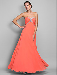 A-Line Sweetheart Floor Length Chiffon Prom Formal Evening Military Ball Dress with Crystal Detailing Side Draping by TS Couture®