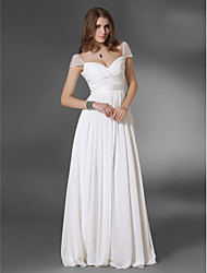 cheap -A-Line Princess V-neck Off-the-shoulder Floor Length Chiffon Evening Dress with Beading by TS Couture®