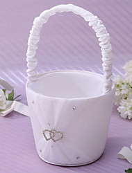 cheap -Heart To Heart Flower Basket In Ivory Satin Flower Girl Basket