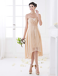 A-Line Sweetheart Asymmetrical Chiffon Bridesmaid Dress with Criss Cross by LAN TING BRIDE®