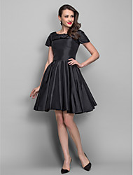 cheap -A-Line Princess Bateau Neck Knee Length Taffeta Cocktail Party Dress with Draping Pearl Detailing by TS Couture®