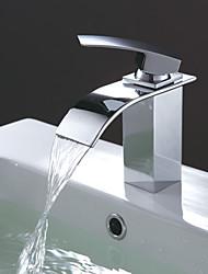 Недорогие -Современный По центру Водопад Керамический клапан Одно отверстие Одной ручкой одно отверстие Хром , Ванная раковина кран
