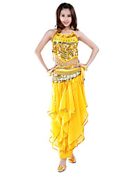 Belly Dance Outfits Women's Chiffon Beading Coins Sequins Sleeveless Natural