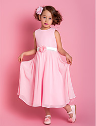 Sheath / Column Tea Length Flower Girl Dress - Chiffon Sleeveless Scoop Neck with Flower by AIMITE