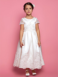 cheap -A-Line Princess Ankle Length Flower Girl Dress - Satin Short Sleeves Jewel Neck with Beading Appliques Draping by LAN TING BRIDE®