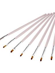 7pcs Nylon Lipbrush cabelo (Light Pink)