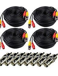 VideoSecu 4 Pack 150ft(10M) Video Power CCTV Security Camera Cable with BNC to RCA Adapter Connector