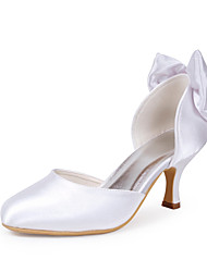 cheap -Shoes Satin Stretch Satin Winter Spring Fall Comfort Stiletto Heel Bowknot For Wedding Red Blue Pink Champagne Ivory