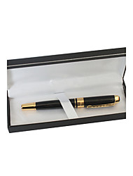 Personalized Black and Gold Metal Black Ink Gel Pen