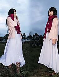 billige -Inspireret af Attack on Titan Mikasa Ackermann Anime Cosplay Kostumer Cosplay Kostumer Ensfarvet Frakke Kjole Halstørklæde Til Dame