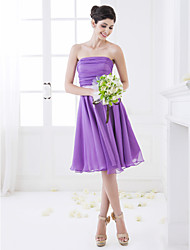 A-Line Strapless Knee Length Chiffon Bridesmaid Dress with Ruching by LAN TING BRIDE®