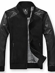 Недорогие -Мужчин Pu строчки Fasion Стенд воротник куртки высокого качества