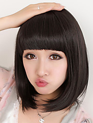 cheap -Cheap Women Synthetic Wigs Natural Black Straight Capless Short Bob High Quality Hair Wig Full Bang