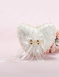 cheap -Heart Shaped Ring Pillow With Pearl Lined and Organza Flowers