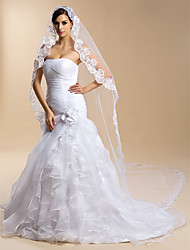 One-tier Lace Applique Edge Wedding Veil Cathedral Veils With 118.11 in (300cm) Lace Tulle Sheath/ Column Trumpet/ Mermaid