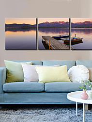 cheap -Canvas Set / Stretched Canvas Print Landscape Modern / Classic,Three Panels Horizontal Print Wall Decor For Home Decoration