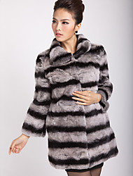 Genuine Long Sleeve Turndown Collar Rex Rabbit Fur Coat