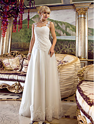 A-Line Off-the-shoulder Floor Length Tulle Wedding Dress with Beading Appliques Criss-Cross by LAN TING BRIDE®