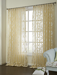 cheap -Sheer Curtains Shades Bedroom Poly / Cotton Blend Jacquard