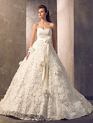 cheap -A-Line Strapless Court Train Tulle Floral Lace Custom Wedding Dresses with Sashes / Ribbons by LAN TING BRIDE®