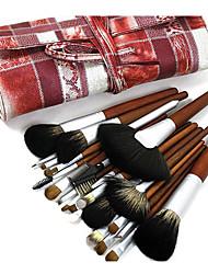Недорогие -Pro Высокое качество 24 ПК натуральных волос норки Персик деревянной ручкой Кисть для макияжа Набор Trellis Design мешок