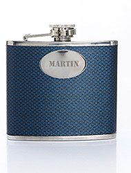 cheap -Personalized Gift Woven Pattern Blue 5oz PU Leather Capital Letters Flask