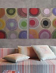 Недорогие -Натянутым холстом печати Искусство абстрактные красочные Печенье Набор 2