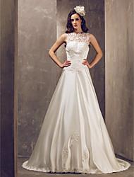 billiga -A-linje Prydd med juveler Hovsläp Satäng / Tyll Bröllopsklänningar tillverkade med av / Öppen Rygg
