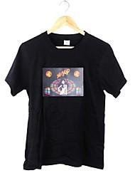 Tee-Shirt Pour des hommes A Motifs Décontracté Manches Courtes Coton Noir