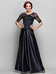 A-Line V-neck Floor Length Lace Satin Mother of the Bride Dress with Beading Bow(s) Lace by LAN TING BRIDE®