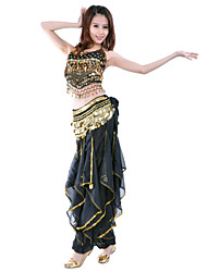 cheap -Belly Dance Outfits Women's Performance Training Chiffon Beading Coins Sequins 2 Pieces Sleeveless Natural Top Pants