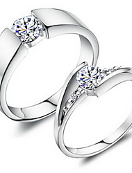 cheap -Ring Wedding / Party / Daily / Casual / Sports Jewelry Alloy / Copper / Platinum Plated Couple RingsAdjustable Silver